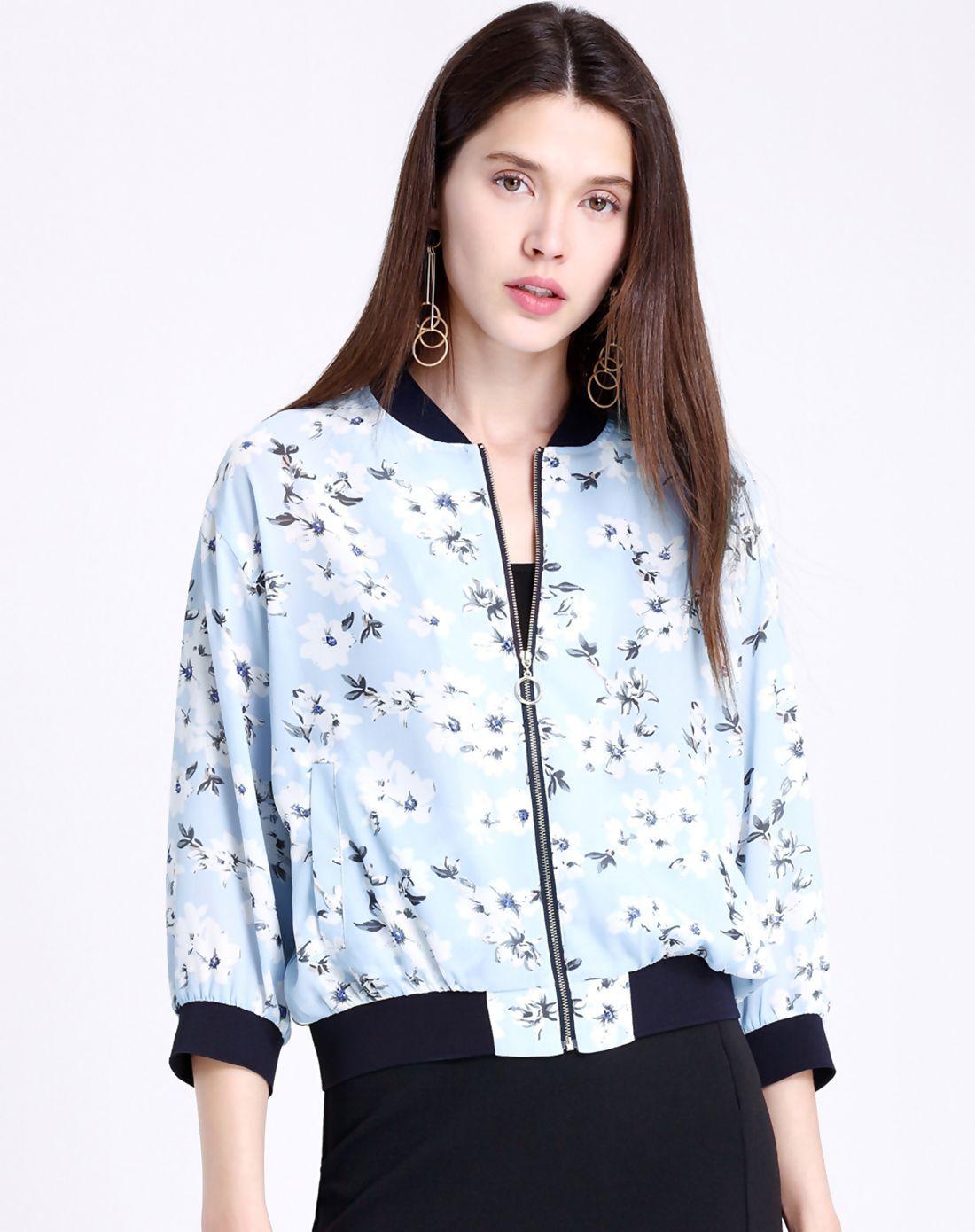 Moonbasa Light Blue Floral Chiffon Zipper Short Elegant Cardigan ...