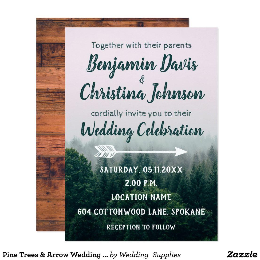 Customizable Pine Trees Arrow Wedding Invitation: Tree Wedding Invitations Arrow At Reisefeber.org