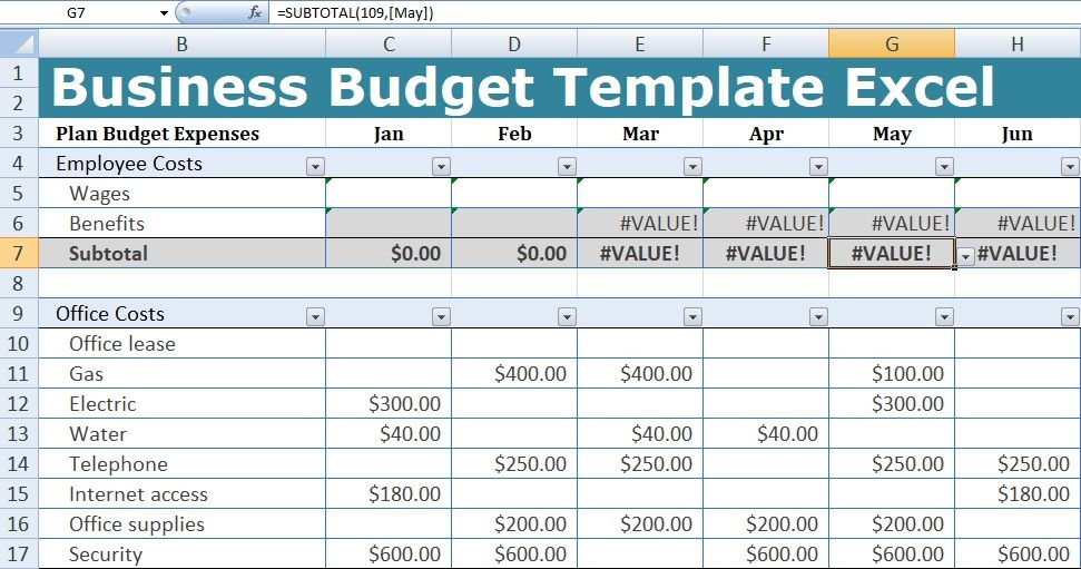 Business Budget Template Excel Excel Budget Template Excel Budget