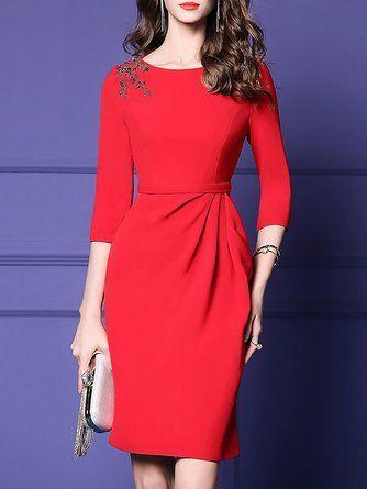 Red Sheath Formal Solid Midi Dress #womensfashionformal ...