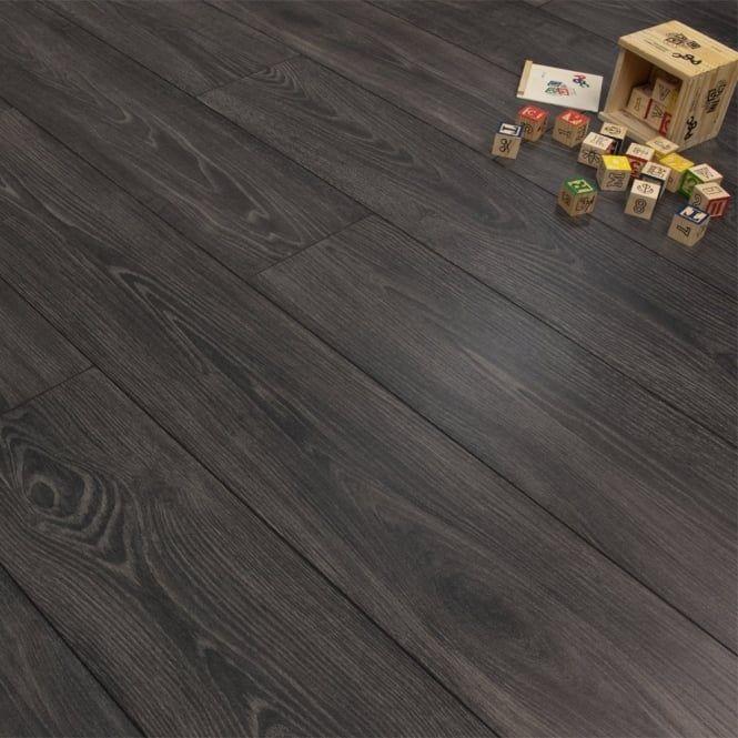 Premier Elite Black Smoked Oak 8mm Laminate Flooring V Groove Ac4