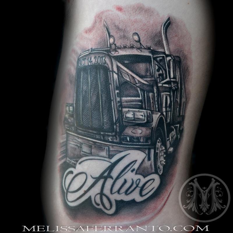 Semi truck tattoos tattoos by melissa ferranto tattoos for Truck tattoos designs