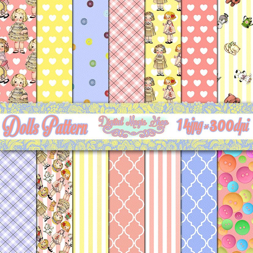 Dolls digital paper - Seamless pattern - 14pcs 300dpi, paper crafts, card making, scrapbooking, Personal and Commercial use by DigitalMagicShop on Etsy