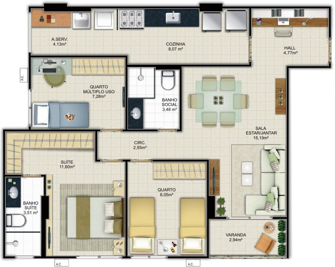 Projeto apartamento 90m2 pesquisa google apartment for Apartment design 90m2