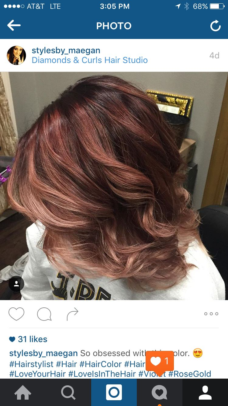 Violet to rose gold balayage haircolor ideas pinterest rose