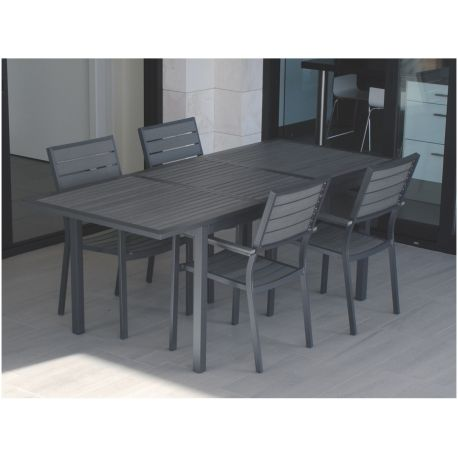 Mesa terraza rectangular 152-210x90cm extensible polywood grey e388 ...