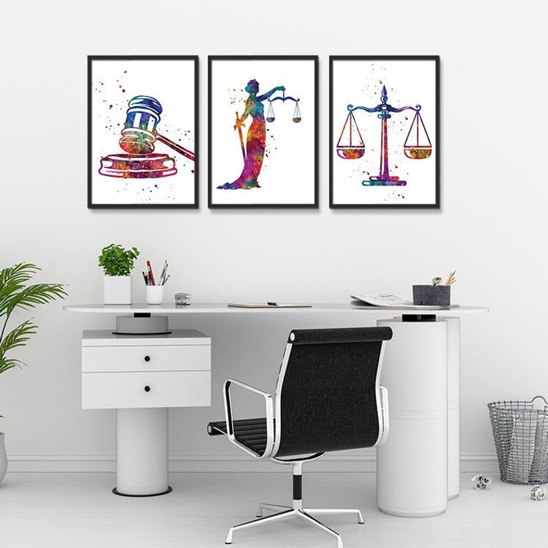 Lawyer Office Decor Law Student Gift Set Of 3 Watercolor Art Prints Lady Justice Scales Of Justice Gavel Valentines Gift Lawyer Office Decor Lawyer Office Law Office Decor