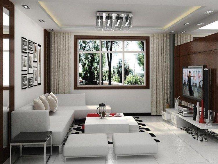 dcoration du petit salon blanc avec plafond lumineux