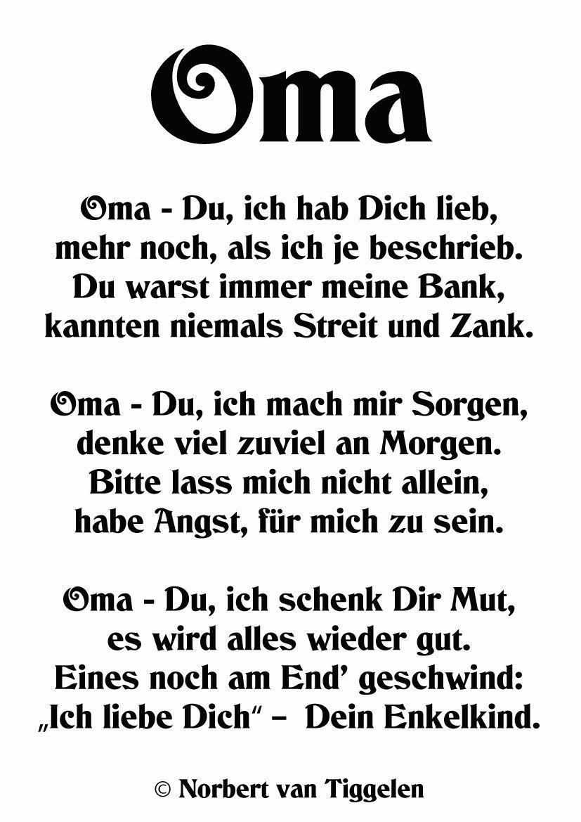 Gedichte Oma Kostenlos Gutschein Vorlagen Muster Idee Selber