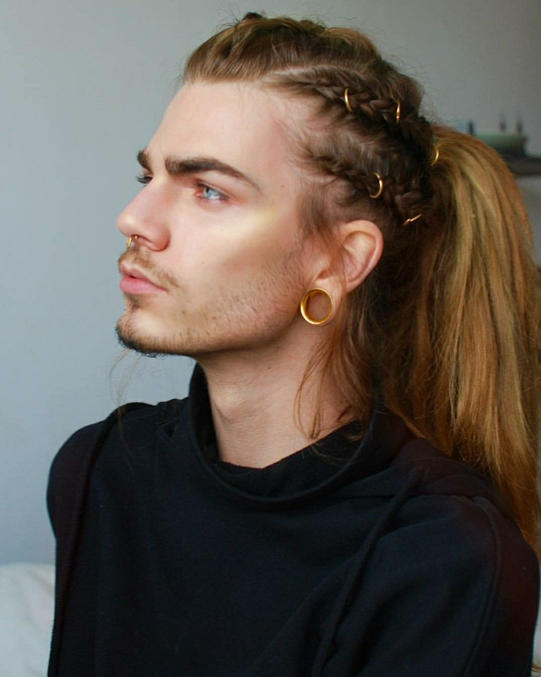 Pale Blue Eyes Male With Long Red Or Blond Hair Septum