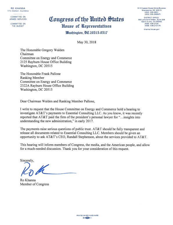 Exclusive Ro Khanna S Letter Calling For At T Ceo To Explain Why