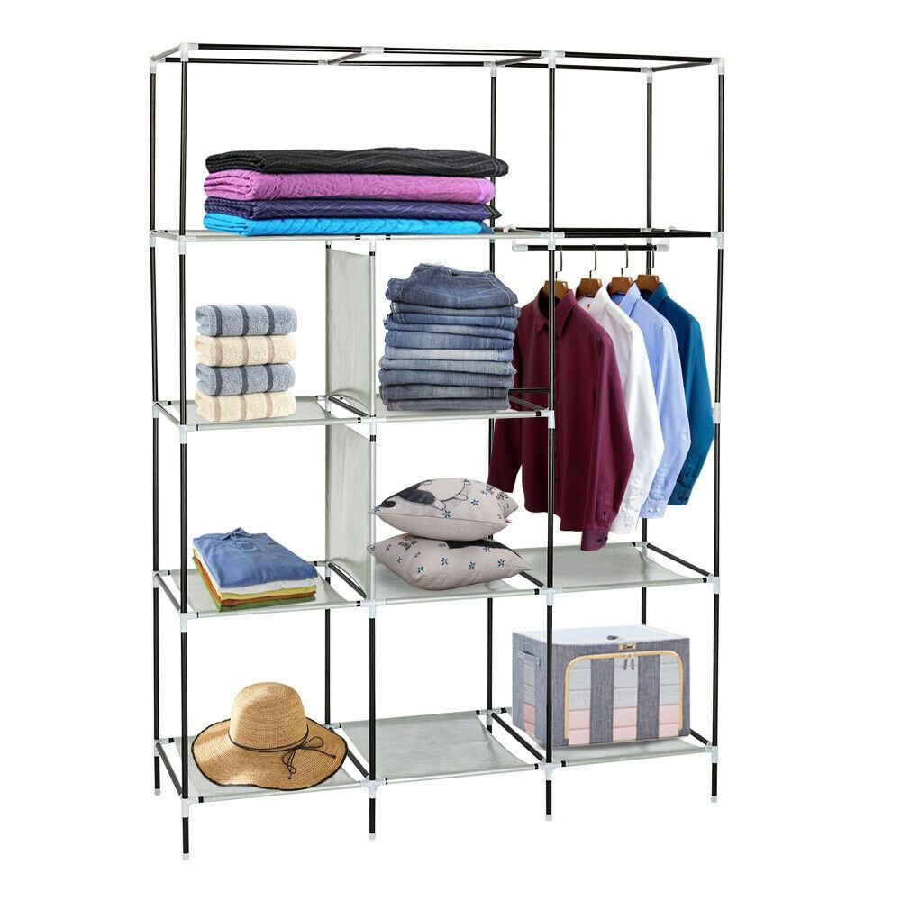 Top Alloy Portable Clothes Storage Closet Organizer Shelf Wardrobe Rack Shelves Clos Closet Clothes Storage Storage Closet Organization Shoe Rack With Shelf