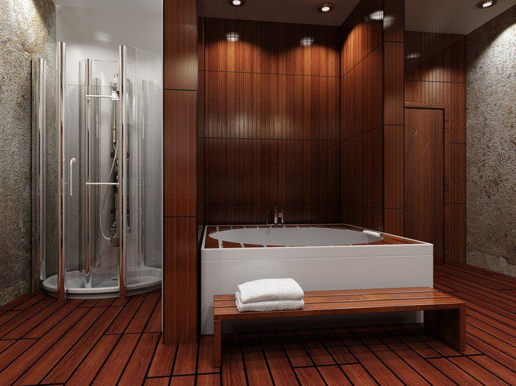 parquet salle de bain pont de bateau baignoire. Black Bedroom Furniture Sets. Home Design Ideas