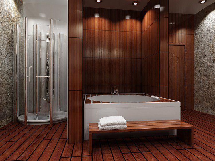 parquet salle de bain pont de bateau baignoire rectangulaire banc en bois h tel la vigie. Black Bedroom Furniture Sets. Home Design Ideas