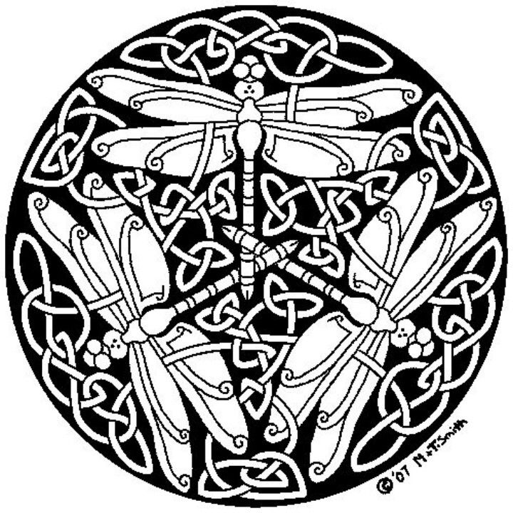 Pin By Jessica Lenczycki On Tattoos Mandala Coloring Pages Celtic Art Dragonfly Art