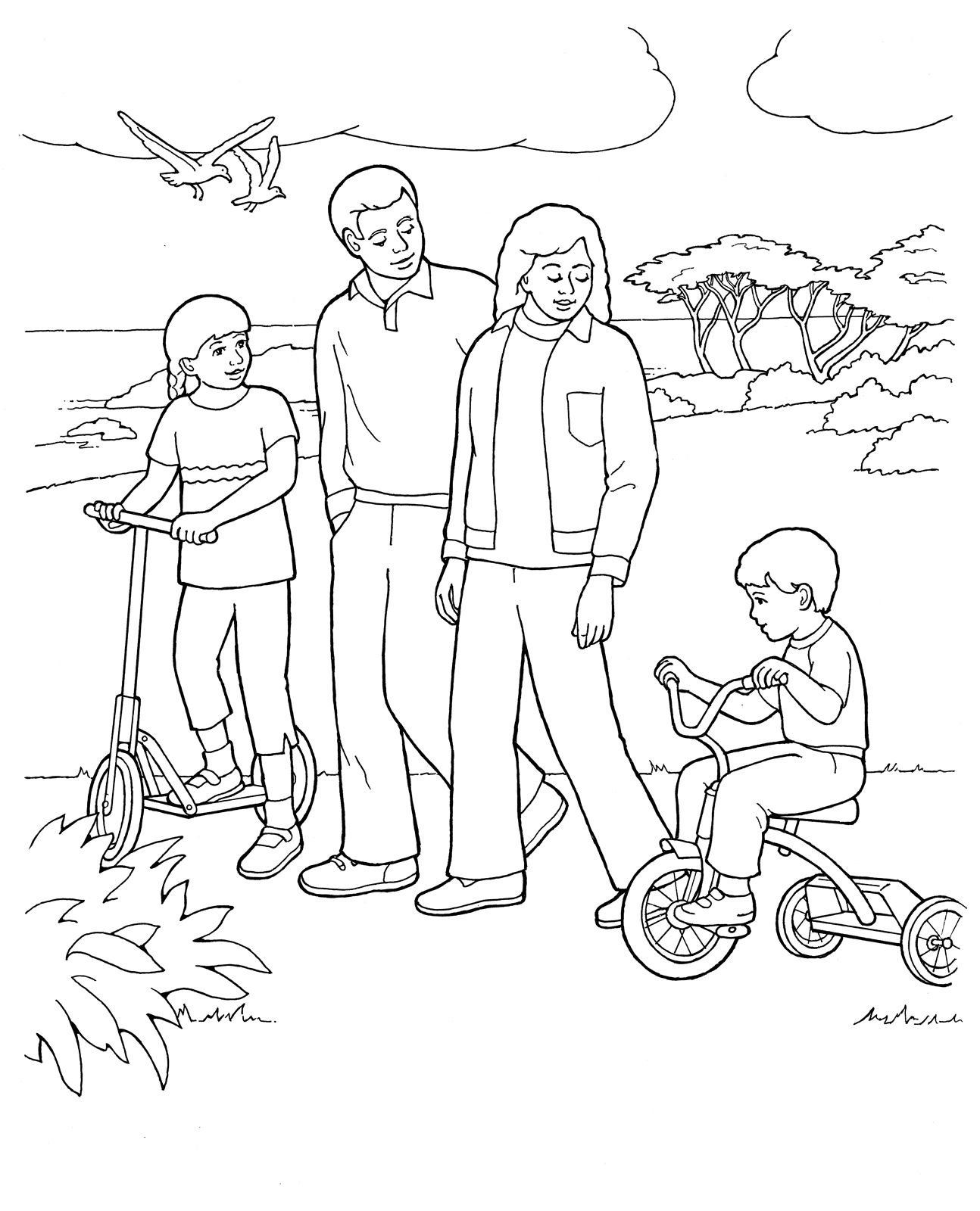 Primary coloring page Family walking together ldsprimary