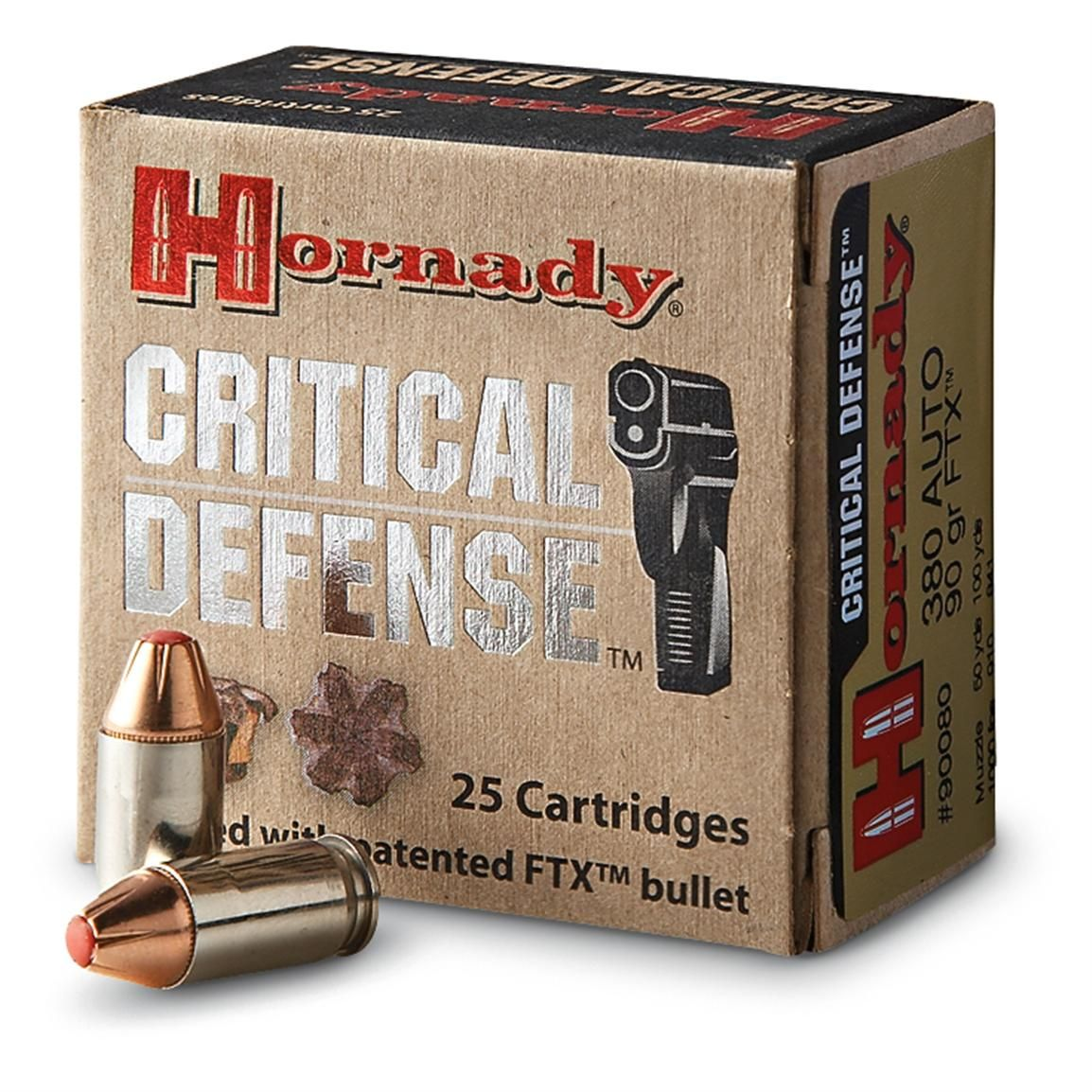 Hornady Critical Defense,  380 ACP, FTX, 90 Grain, 25 Rounds