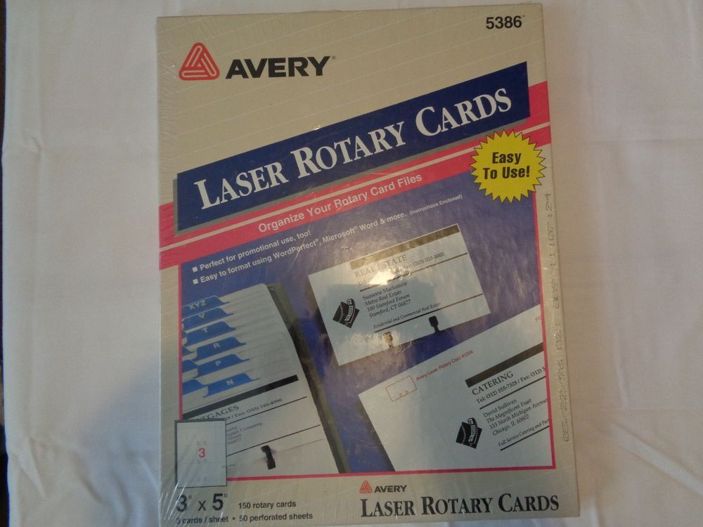 Avery laser rotary cards 5386 new 3 x 5 150 cards laser printing avery laser rotary cards 5386 new 3 x 5 150 cards laser printing business cards reheart Images