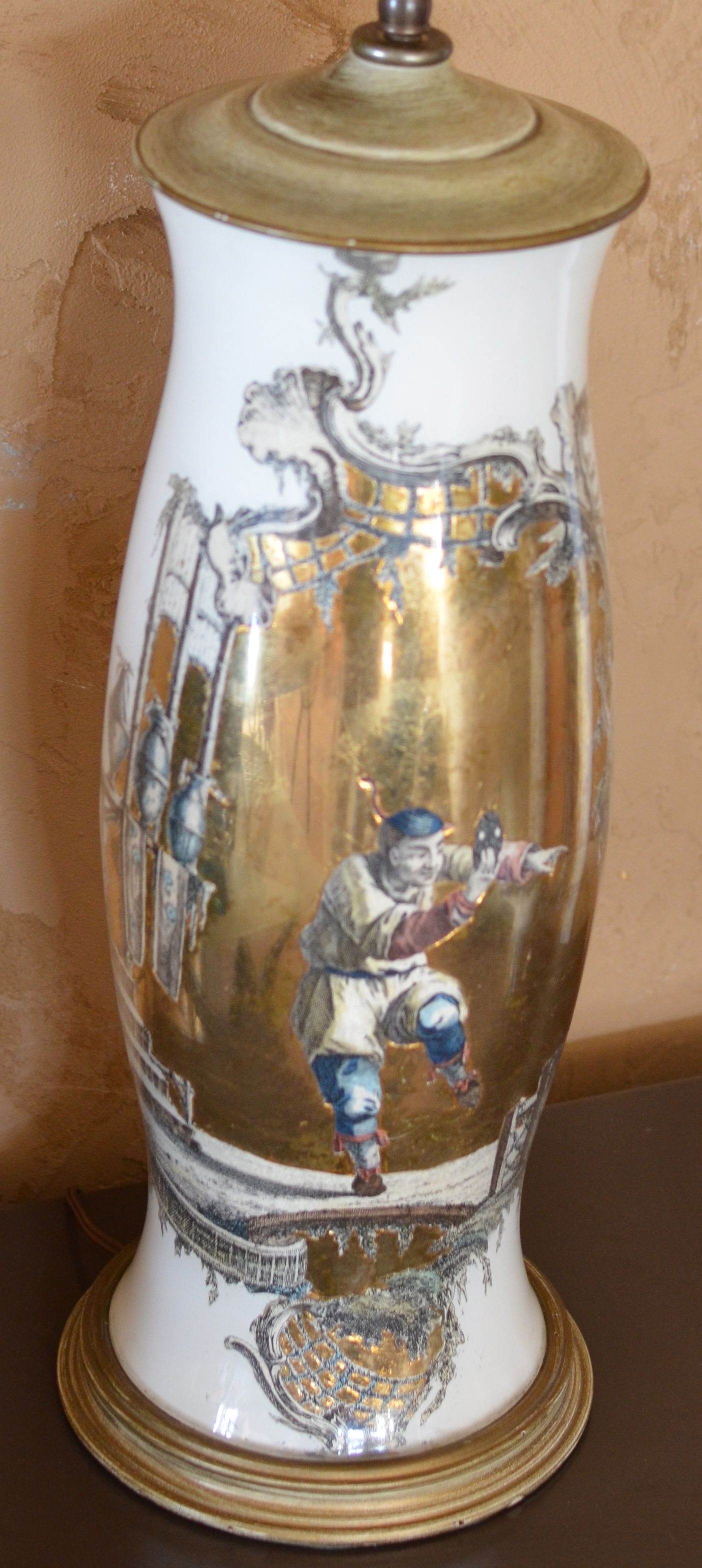 Gold Leaf And Decoupage Lamp In The Style Of Hiram Manning