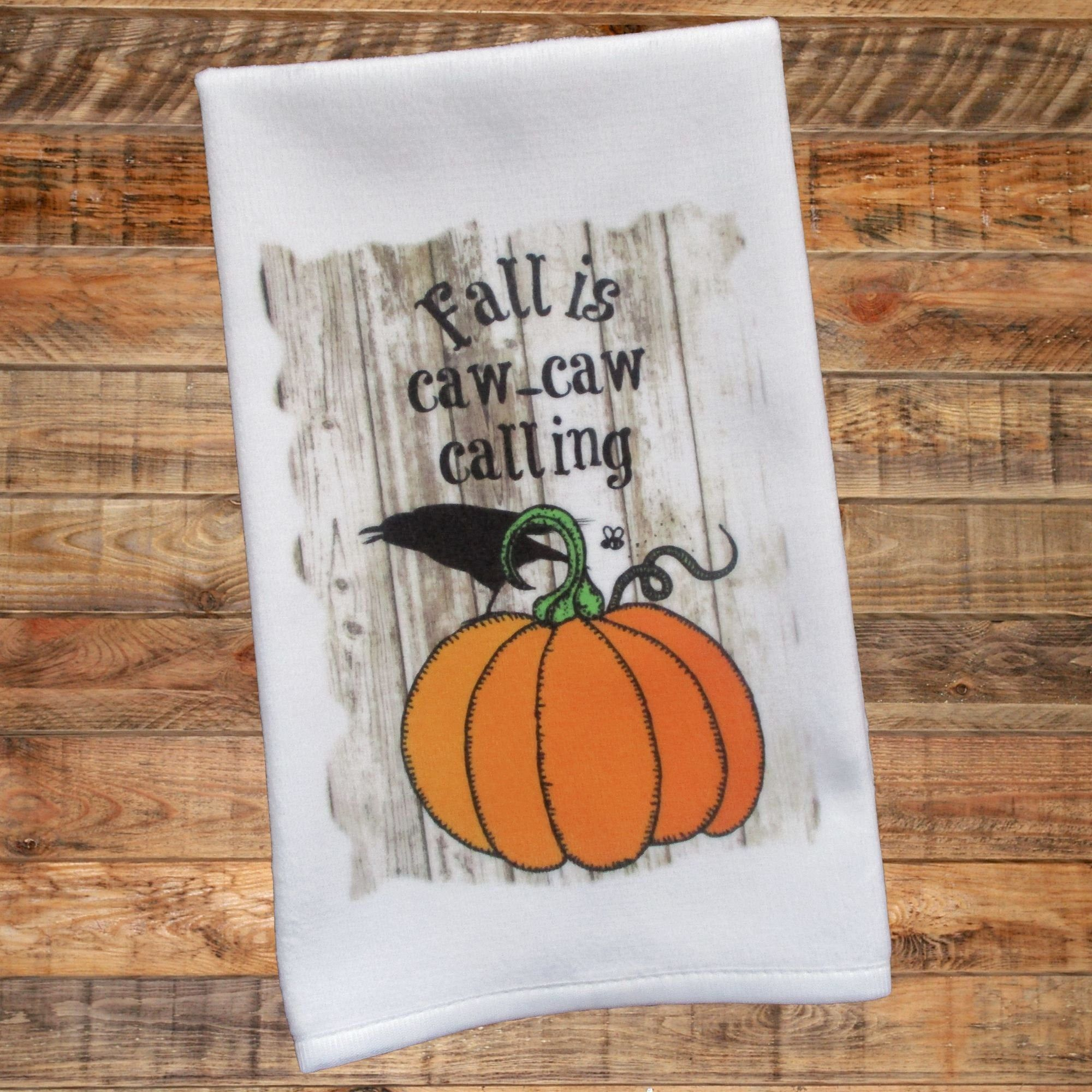 Fall Towel Fall Is Caw Caw Calling Crow Raven Pumpkin Autumn