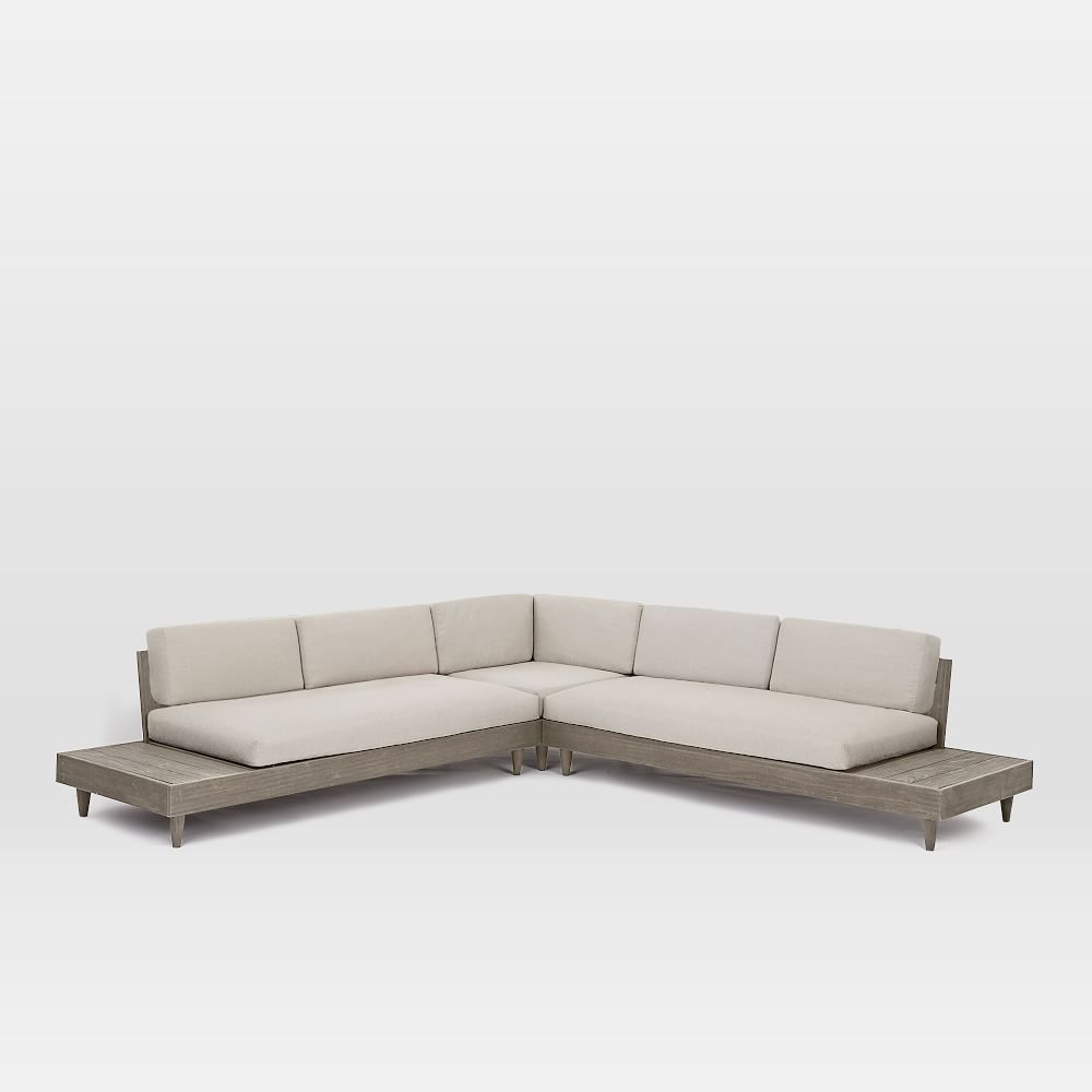 Portside Outdoor Low 3 Piece L Shaped Sectional Outdoor Lounge Furniture Outdoor Couch Outdoor Furniture Sets