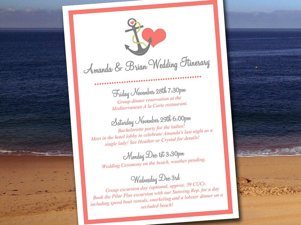 Beach Wedding Itinerary Template  Wedding Planner Anchor Love