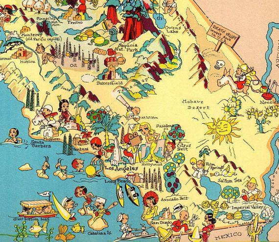 image about California State Map Printable known as 1930s Traditional California Consider Map Nation Cartoon Map