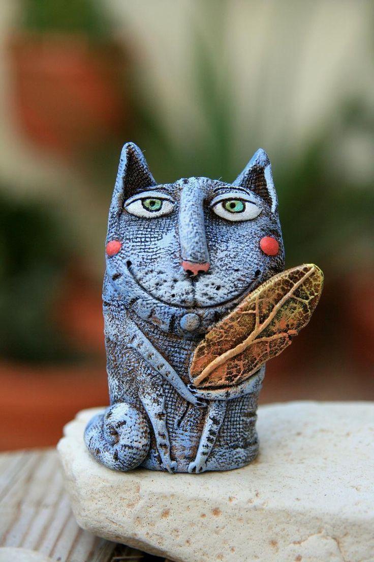 Whimsical Cat sculpture Pottery cat statue Ceramic cat