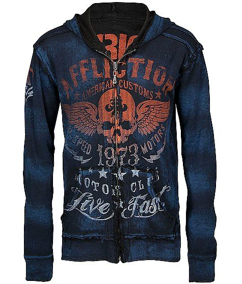 Affliction American Customs Faded Iron Hoodie