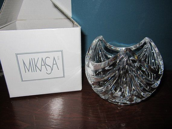 Mikasa clear stardust crystal votive candle holder