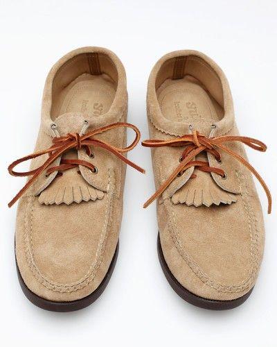 """Blucher With Kiltie In Khaki; Yuketen;    """"Suede summer shoes"""" &;;"""