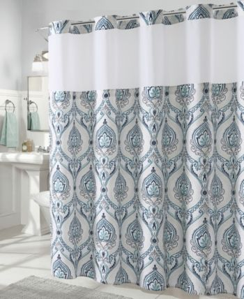 Hookless French Damask Print 3 In 1 Shower Curtain Bedding