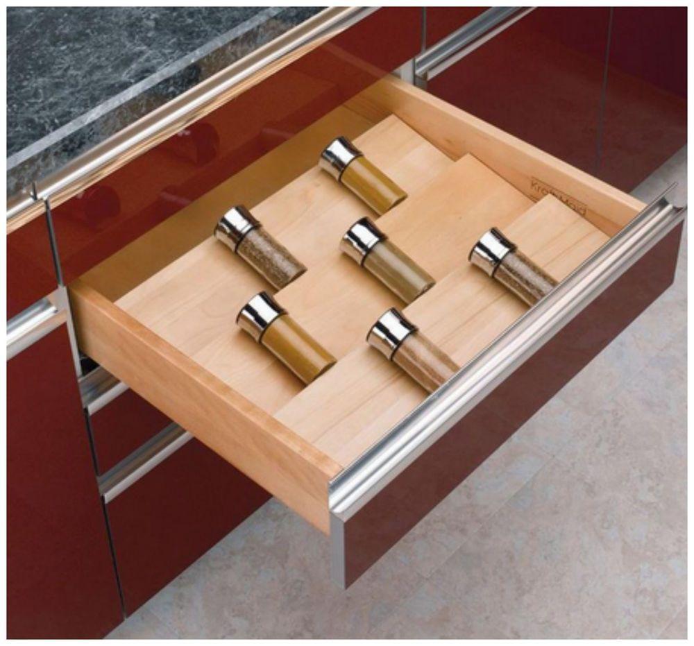 Details about Wooden Kitchen Drawer Cabinet Spice Jar ...