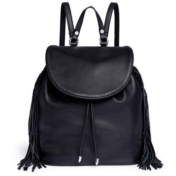 Sam Edelman 'Fifi' fringe leather backpack (£195) ❤ liked on Polyvore featuring bags, backpacks, black, boho backpack, leather fringe backpack, real leather backpack, boho bag and leather knapsack