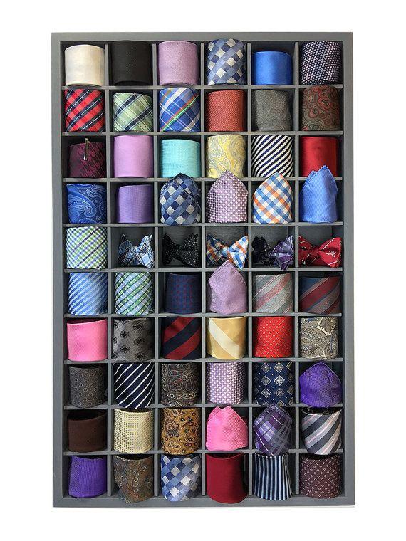 60 Organisateur De Cravate Cravate Boite Tie Par Familywoodcraft Tie Organization Tie Hanger Tie Storage