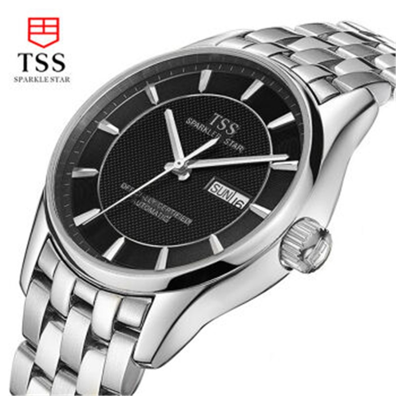 128.80$  Buy now - http://aliy5a.worldwells.pw/go.php?t=32734109101 - TSS men's mechanical watch casual 10Bar waterproof hollow steel male table ultra-thin fashion business calendar gold watch 128.80$
