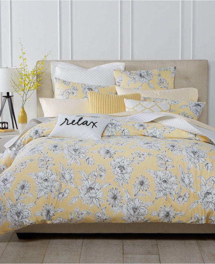 floral king comforter sets Charter Club Damask Designs Butter Floral 3 Pc. Full/Queen  floral king comforter sets
