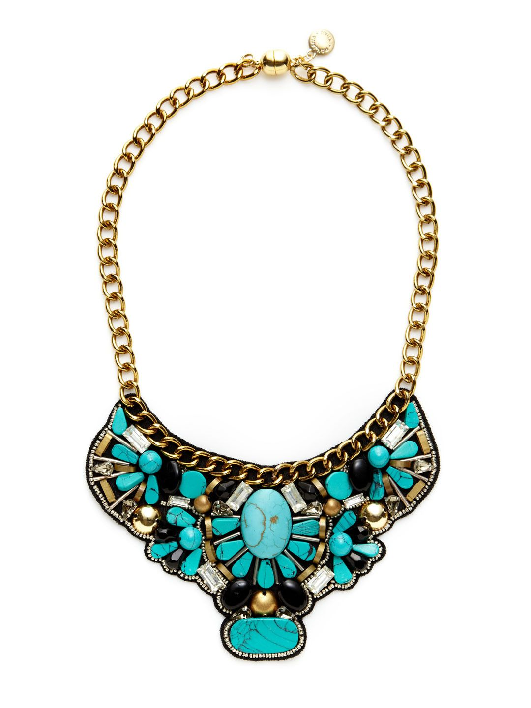 Ranjana Khan Beaded Turquoise Statement Necklace r68ma3qWy