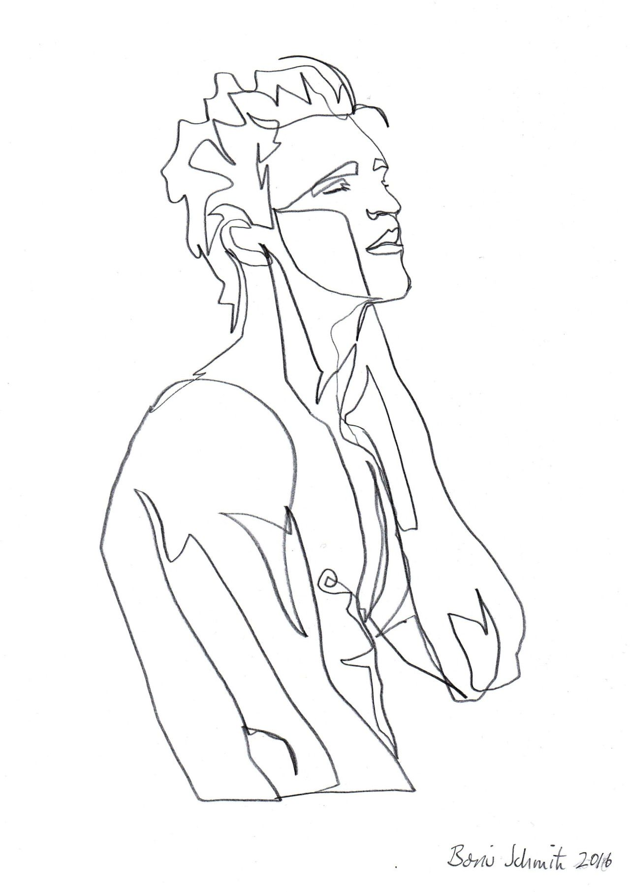"Single Line Box Art : ""body ″ continuous line drawing by boris schmitz"