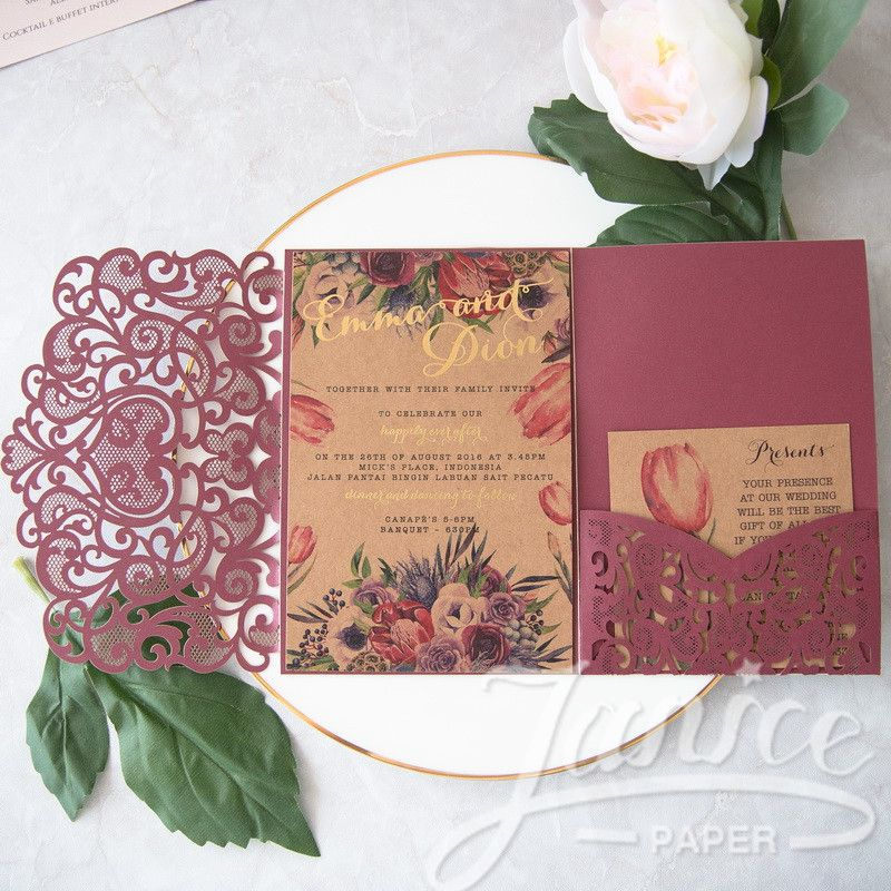 civil wedding invitation card%0A Graceful Love Heart Trifold Laser Cut Pocket Wholesale Wedding Invitation  WPFC