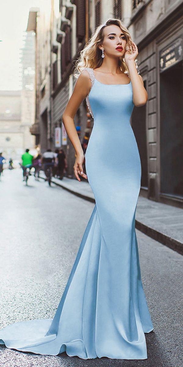 Surprising Acetate Satin Scoop Neckline Mermaid Evening Dresses With ...