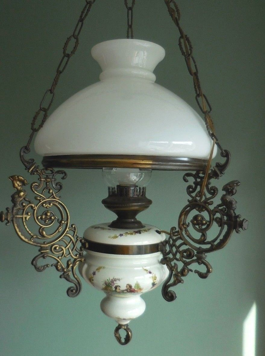 Vtg Antique Style Electr Oil Lamp Hanging Ceiling French ...