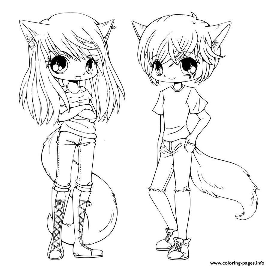 Print Cute Anime Twins Coloring Pages Animal Coloring Pages