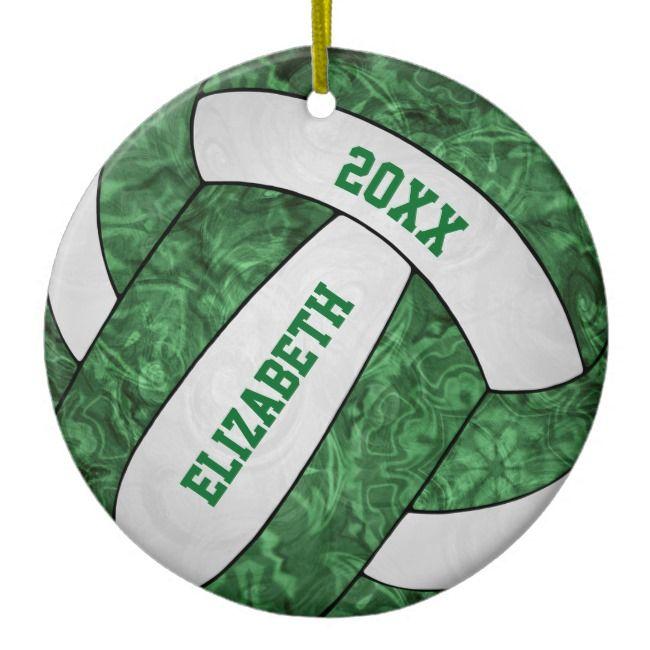 Green White Girly Volleyball Festive Ceramic Ornament Zazzle Com Volleyball Christmas Ceramic Ornaments Ornaments