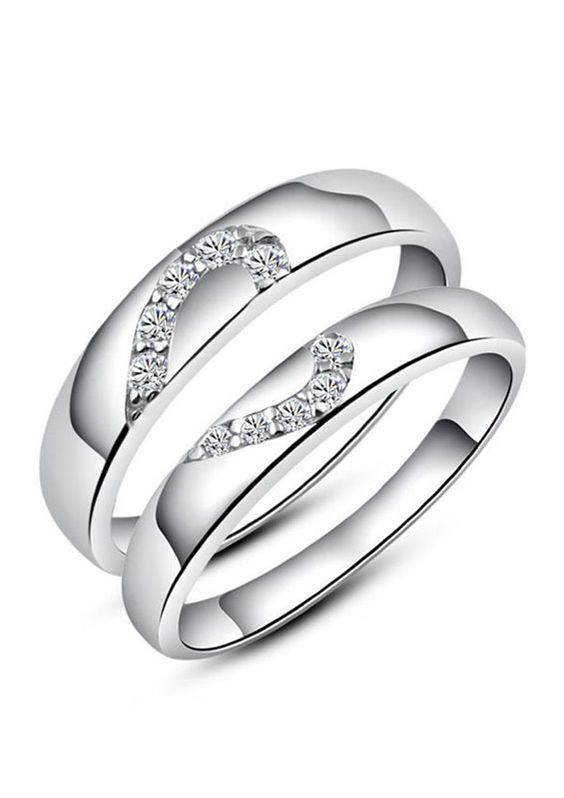 Half Heart Couple Rings Set For Women And Men Sterling Silver