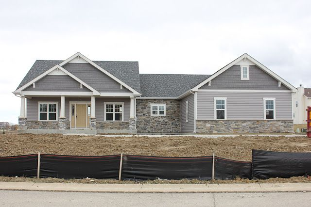 Siding is quest double 5 by mastic in harbor grey and the for Grey vinyl siding colors