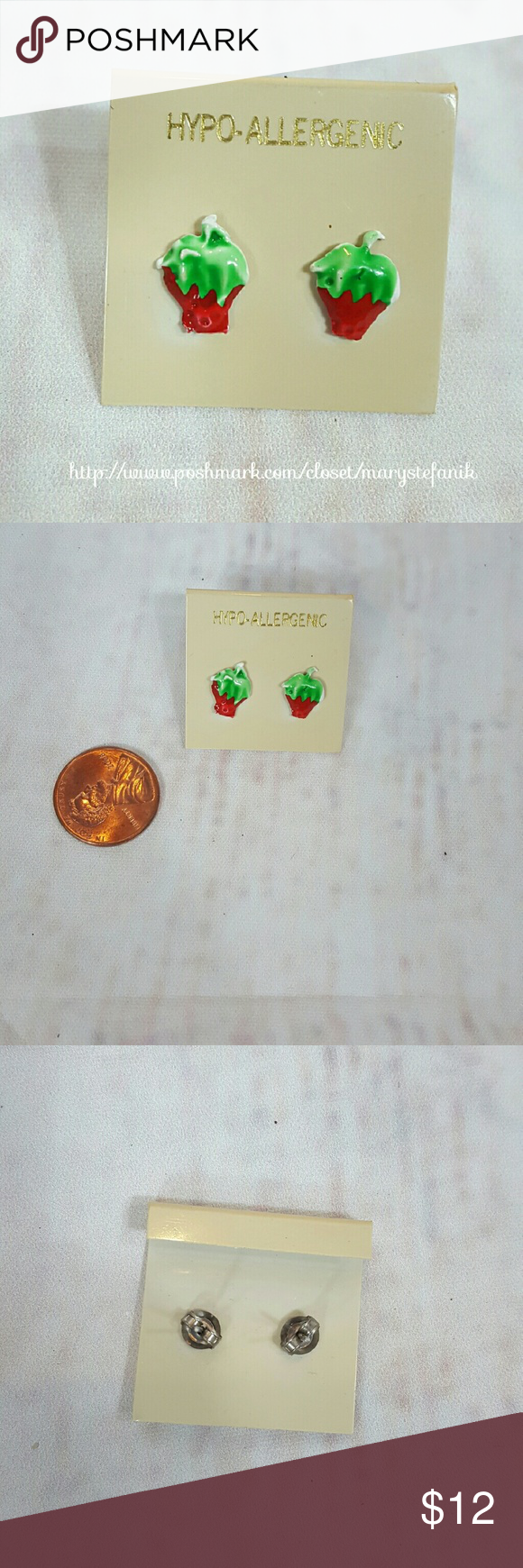 strawberry italina plant earrings unique stud rose stellux lovers plated design fruit crystal austrian for gold