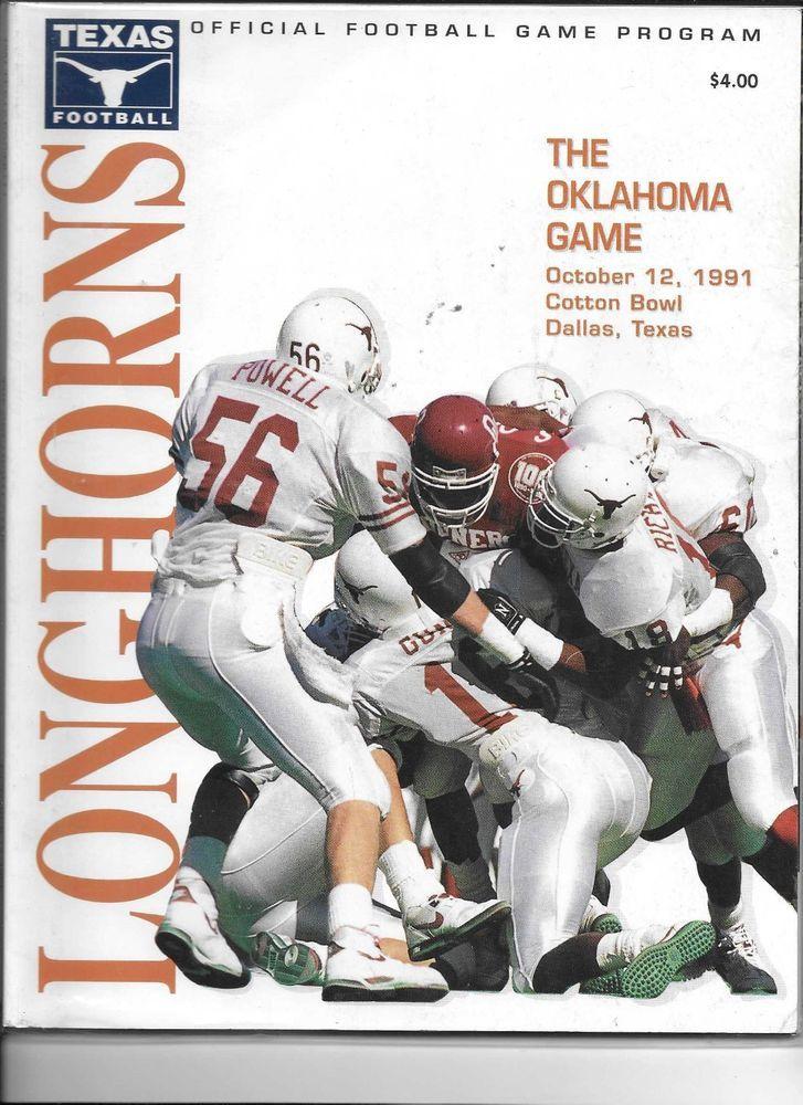 1991 Oklahoma Sooners vs Texas Longhorns game day program