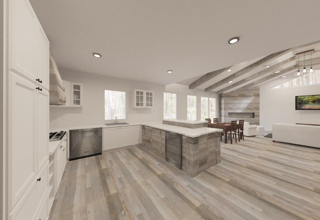 Reclaimed Wood Kitchen With Open Floor Plan Grey Floors Flippingraleigh Joshhouchins Reclaimed Wood Kitchen Grey Flooring Master Bath Shower