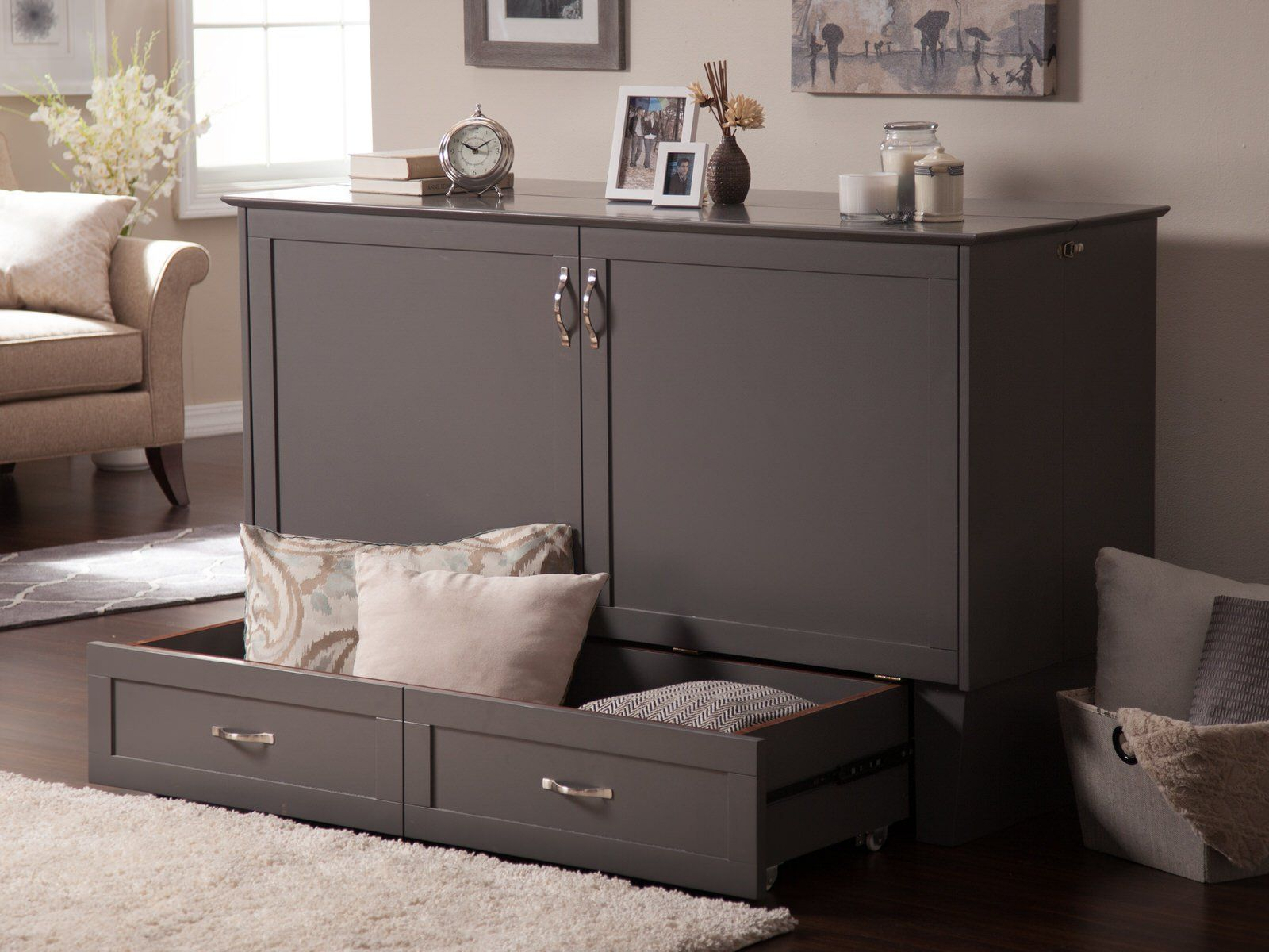 Best Madison Murphy Bed Chest Bed Gray By Atlantic Murphy 640 x 480